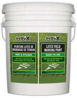 Maadco Paints Inc. Insl-X Latex Field Marking Paint is specifically designed for use on natural or artificial turf, concrete and asphalt, as a semi-permanent coating for line marking or artistic graphics.  Fast Drying Water-Based Formula Will Not Kill Grassboom