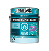 BAY CITY PAINT & WALLPAPER INC Epoxy Pool Paint is a high solids, two-component polyamide epoxy coating that offers excellent chemical and abrasion resistance. It is extremely durable in fresh and salt water and is resistant to common pool chemicals, including chlorine. Use Epoxy Pool Paint over previous epoxy coatings, steel, fibreglass, bare concrete, marcite, gunite, or other masonry surfaces in sound condition.  Two-component polyamide epoxy pool paint For use on concrete, marcite, gunite, fibreglass & steel pools Can also be used over existing epoxy coatings Extremely durable Resistant to common pool chemicals, including chlorine Two-component polyamide epoxy pool paintboom