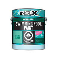 BAY CITY PAINT & WALLPAPER INC Waterborne Swimming Pool Paint is a coating that can be applied to slightly damp surfaces, dries quickly for recoating, and withstands continuous submersion in fresh or salt water. Use Waterborne Swimming Pool Paint over most types of properly prepared existing pool paints, as well as bare concrete or plaster, marcite, gunite, and other masonry surfaces in sound condition.  Acrylic emulsion pool paint Can be applied over most types of properly prepared existing pool paints Ideal for bare concrete, marcite, gunite & other masonry Long lasting colour and protection Quick dryingboom